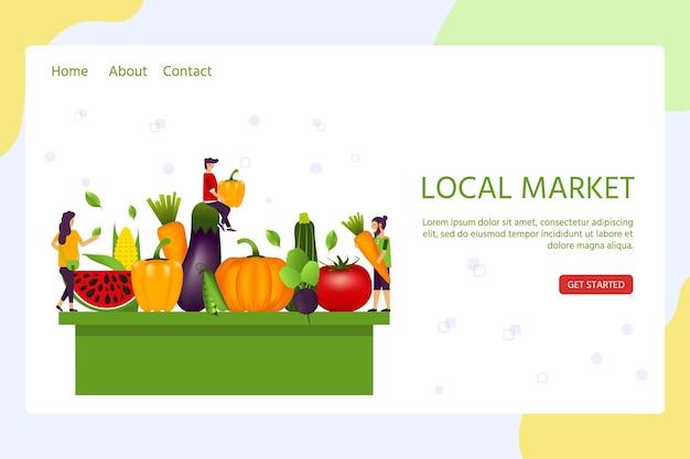 Landing-page-vorlage für den lokalen markt mit menschen und realistischem, gesundem gemüse wie: karotte, tomate, pfeffer, aubergine, kürbis. vektorbanner über ernährung, öko-lebensmittel