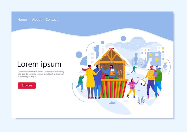 Landing-page-vorlage für den saisonmarkt mit leuten, die zwischen holzkiosken spazieren gehen und snacks, geschenke, dekoration kaufen. weihnachtsmarktplakat mit traditionellem winterbasar. vektor-flyer-design
