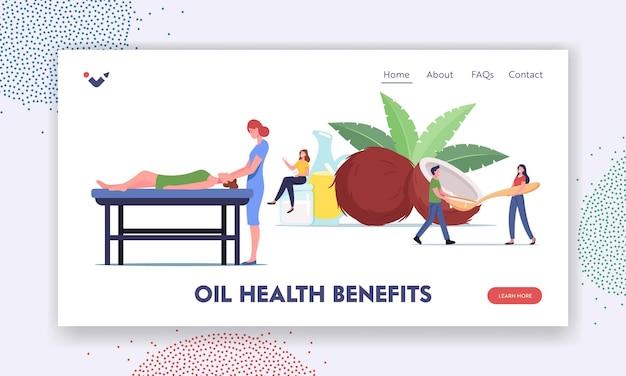 Landing page vorlage für die vorteile von öl für die gesundheit. menschen verwenden kokosöl. winzige charaktere kochen, besuchen einen spa-salon für massage-körperpflegeverfahren. natürliche zutat. cartoon-menschen-vektor-illustration
