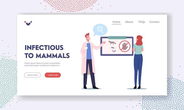 Landing page vorlage für infektiöse säugetiere. medizinisches bewusstsein für tollwut-infektion, arzt-charakter, der informationen über tiere präsentiert, die eine tollwut-infektion übertragen. cartoon-menschen-vektor-illustration