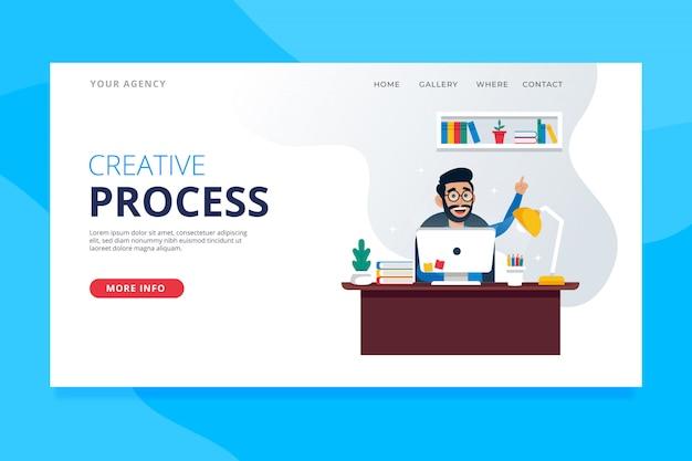 Landing-page-vorlage für kreativen prozess