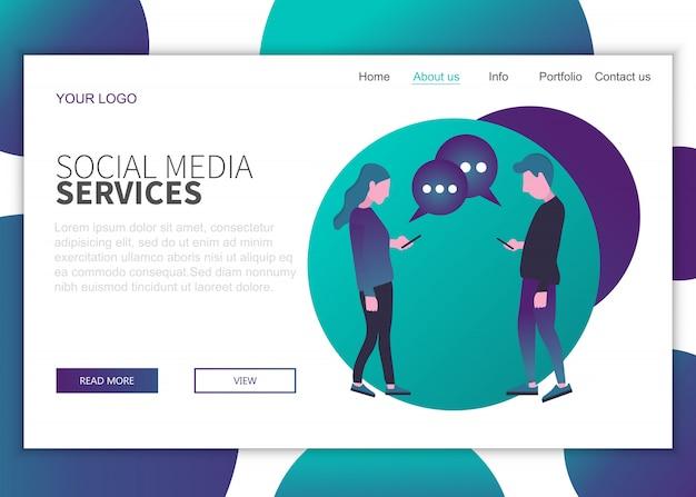 Landing-page-vorlage für social media-dienste