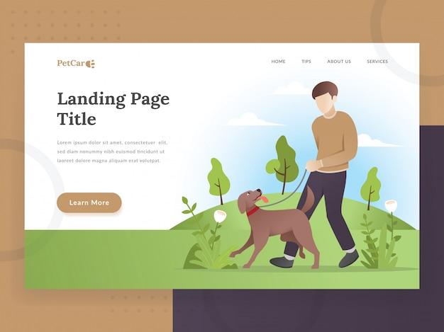 Landing-page-vorlage für tierbetreuung