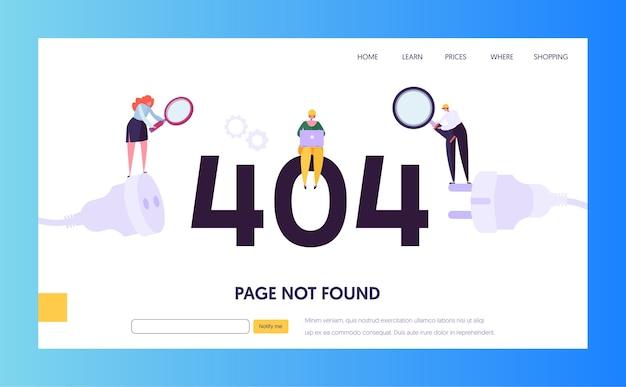 Landing page-vorlage für wartungsfehler. seite im baukonzept nicht gefunden mit charakteren arbeiter, die das internetproblem für die website beheben.