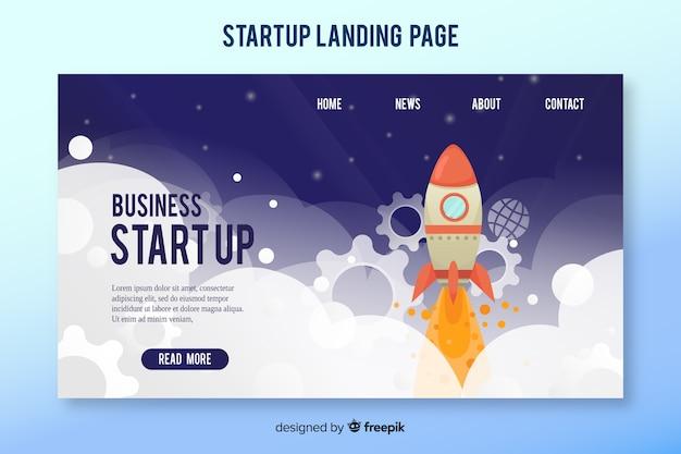 Landing-page-vorlage mit einer rakete