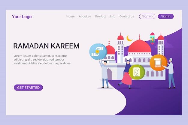 Landing-page-vorlage ramadan kareem mit kleinen leuten