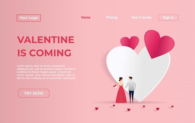 Landing-page-vorlage von paaren für den valentinstag