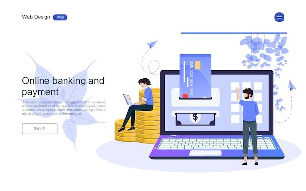 Landing page web template business-konzept für online-banking, finanztransaktion.