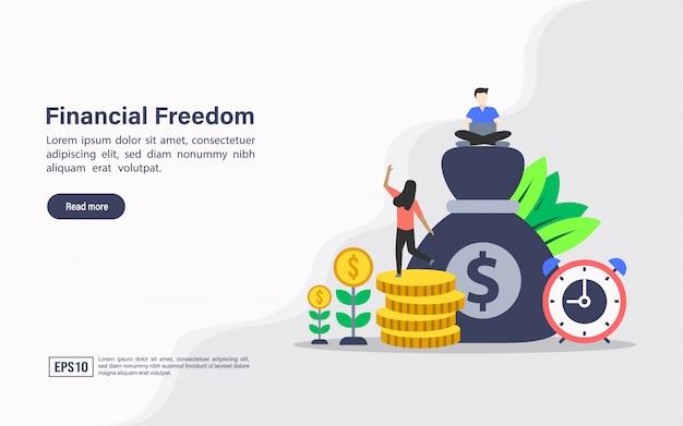 Landing page web template der finanziellen freiheit