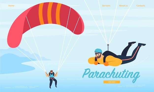 Landing page web template mit fallschirmspringen, fallschirmspringen sportaktivität.