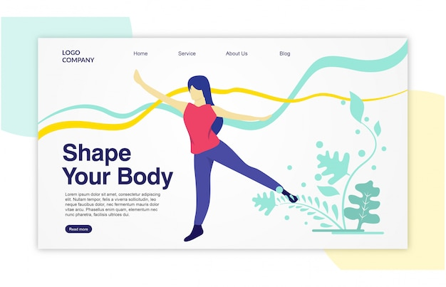Landing page web template mit femininem stil für fitness, yoga, ballett