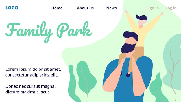 Landing page web template mit glücklichen familie von kleinen fröhlichen jungen sitzen auf papa schultern
