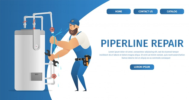 Landing page web template mit illustration konzept seite klempnerservice