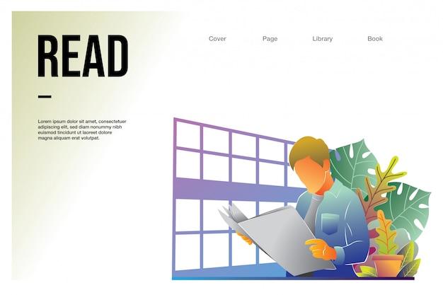 Landing page web template mit mann lesung in der bibliothek