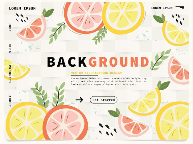 Landing page web template mit niedlichen zitronen-design