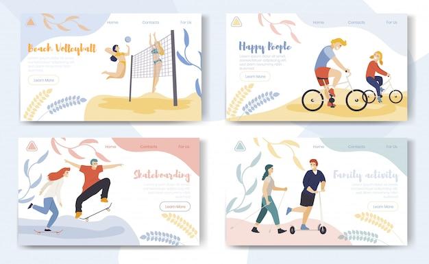 Landing page web template mit sport zeichentrickfiguren gesetzt