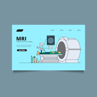 Landing page web template radiologie-konzept. medizinische technologie. hi-tech-geräte und diagnosekonzept.