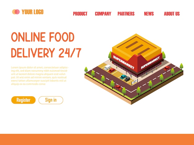 Landing page web template supermarkt isometrisch