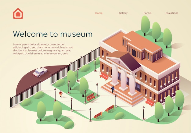 Landing page web template willkommen im museum
