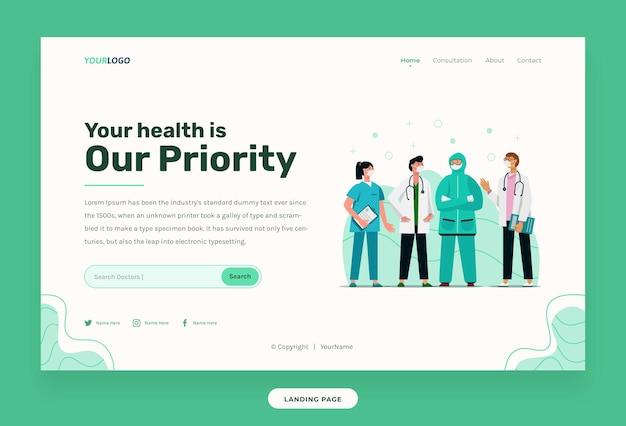 Landing page-webvorlage, illustrationscharakter mit medizinischem outfit kann für druck, infografik, präsentation verwendet werden