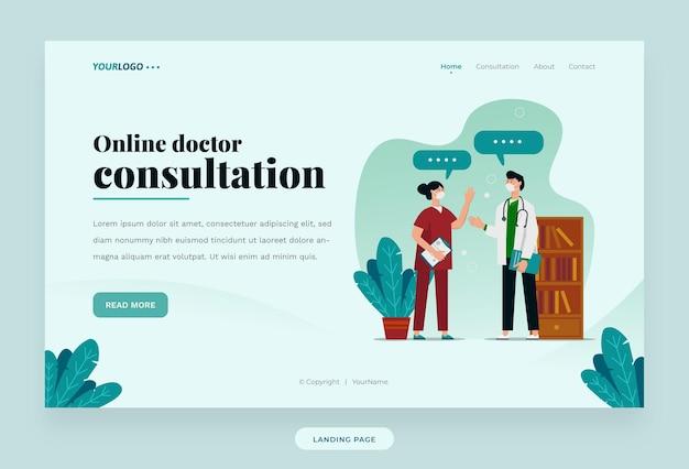 Landing page-webvorlage, mit illustrationsdoktor, pflanze und bücherregal