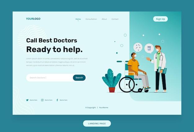 Landing page webvorlage, mit illustrationspflanzen, arzt und patient