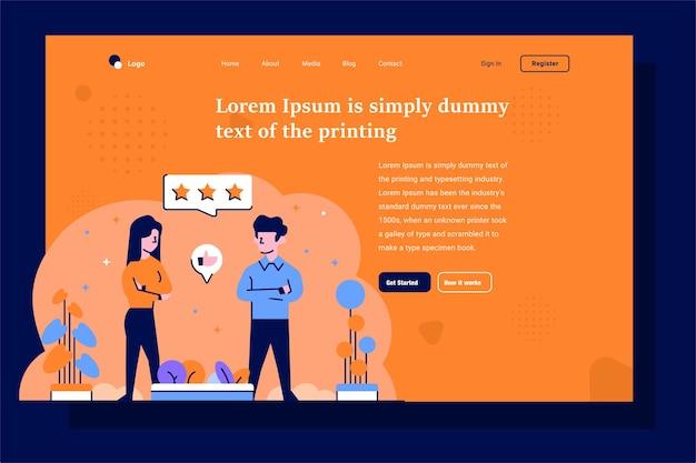 Landing page wie abneigung gegen liebe mit sternen versehene arbeitsbewertungen perfekte bewertungen flach und umrissen illustration