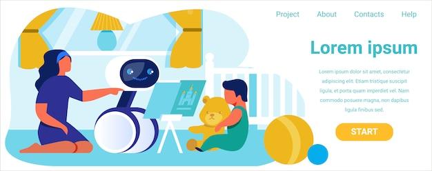 Landing page wirbt für robotic nanny um hilfe
