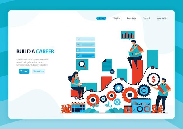 Landing page zum aufbau einer karriere und führung.