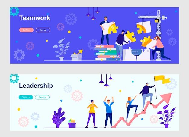 Landing pages für teamwork und führung