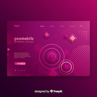 Landing pages mit geometrischen formen im farbverlauf