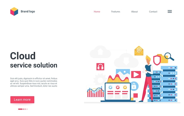 Landingpage-benutzer der cloud-servicelösung, der in der nähe der cloud-speicherserver-datenbank steht