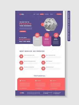Landingpage der business-website oder app-landingpage oder web-benutzeroberfläche wire frame design