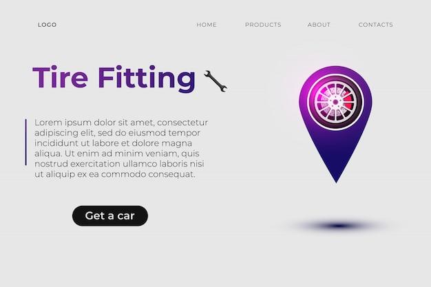 Landingpage der designvorlage für reifenmontageservices
