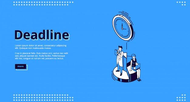 Landingpage der frist mit uhr und personen