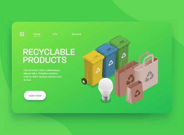 Landingpage der isometrischen website für umweltfreundliche technologie