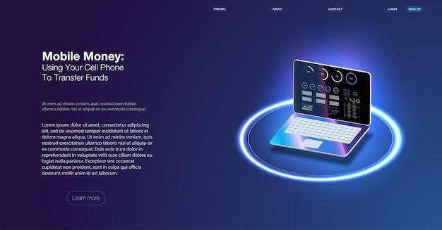 Landingpage der online-banking-app. intelligentes wallet-konzept mit kredit-, debitkarten-zahlungsanwendung. gadget der zukunft, smartphone-tech-zahlung. flache isometrische vektorillustration. e-payment-bildschirm