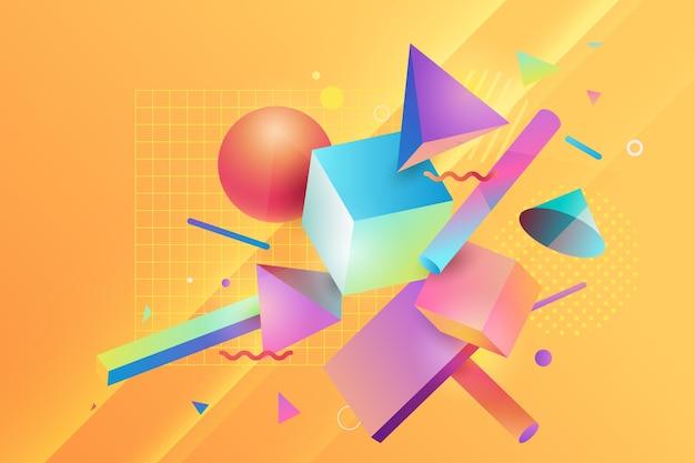 Landingpage der pastellfarbenen geometrischen formen 3d