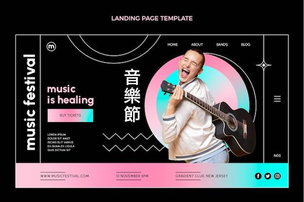 Landingpage des bunten musikfestivals mit farbverlauf