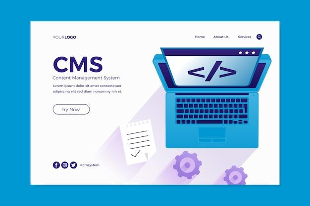 Landingpage des flat design content management systems