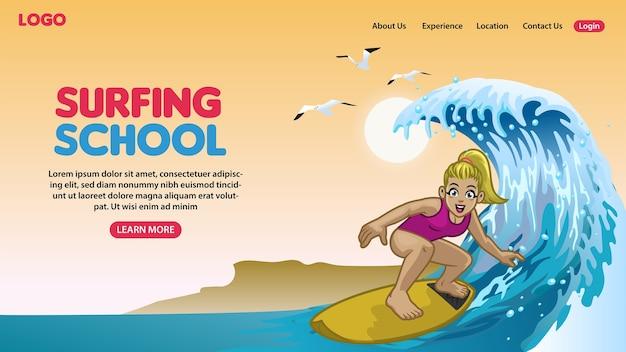 Landingpage des glücklichen surfkonzepts der karikatur