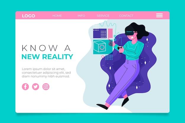 Landingpage des konzepts der virtuellen realität mit frau