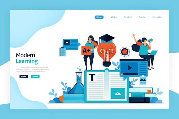 Landingpage des modernen lernens