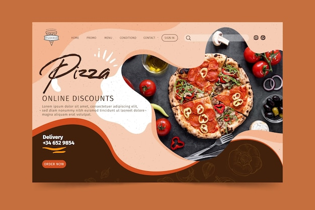 Landingpage des pizzarestaurants