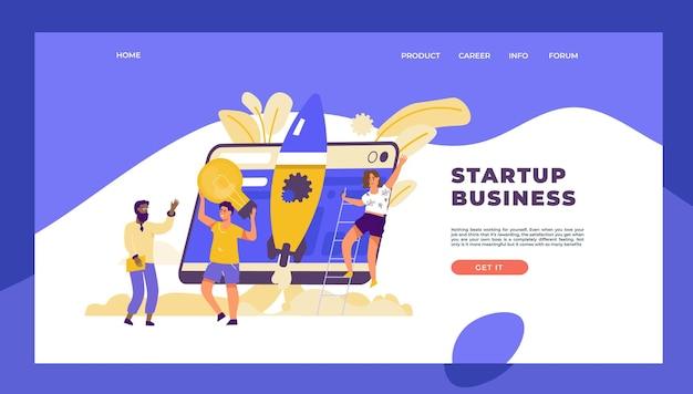 Landingpage des starts. business-marketing-vorlage mit zeichentrickfiguren, technologie Premium Vektoren