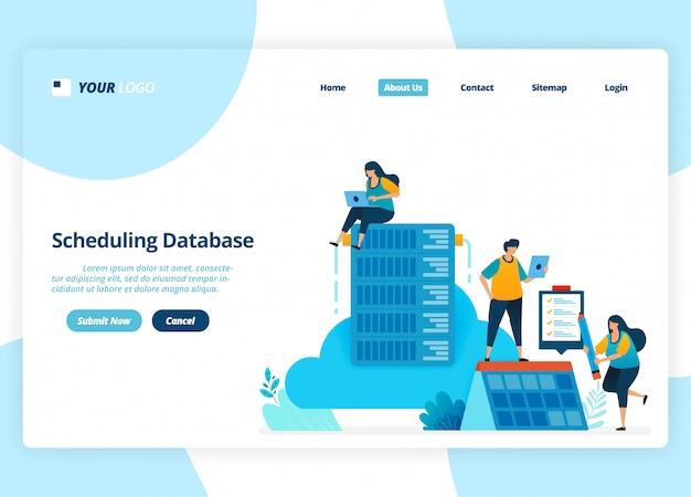 Landingpage-design der datenbankplanung. verwaltung und hosting von cloud-systemen.