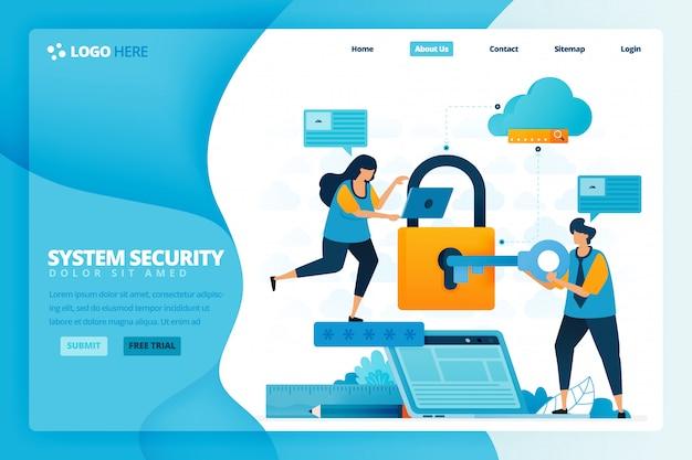 Landingpage-design für sicherheit und schutz. design für website, web, banner, mobile apps, poster, broschüre, vorlage, werbetafel, begrüßungsseite, promotion, cover, visitenkarte, werbung