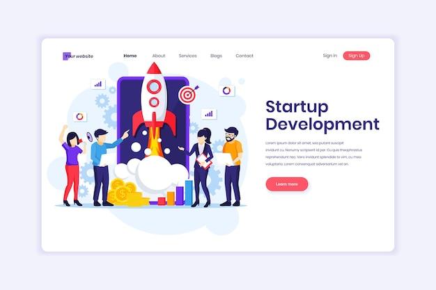 Landingpage-design von startup-entwicklungsleuten, die an einer raketenillustration arbeiten