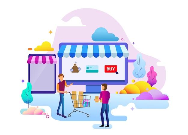 Landingpage-designkonzept des online-shops und der einkaufsmöglichkeiten, geschäftsstrategie und online-shopping. vektorillustrationskonzepte für das website-design ui/ux und die entwicklung mobiler websites.