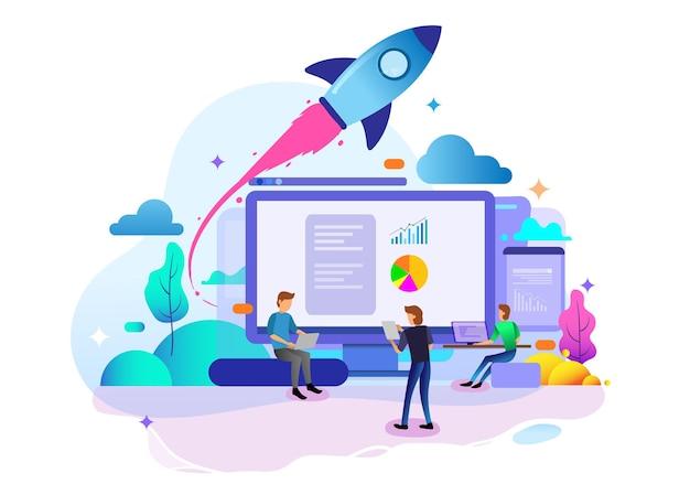 Landingpage-designkonzept für startup-unternehmen, geschäftsstrategie, analytik und brainstorming. vektorillustrationskonzepte für das website-design ui/ux und die entwicklung mobiler websites.